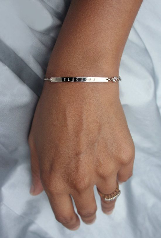 Personalized Silver Birthstone Bracelet Diamond Bar