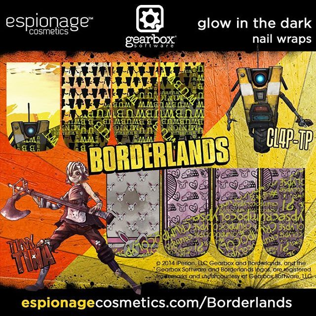 ICYMI, we have a limited of release of NEW #Borderlands nail wraps coming your way. They are available for pre-order RIGHT NOW! Vault Hunters can head to www.espionagecosmetics.com to check out ALL THE THINGS