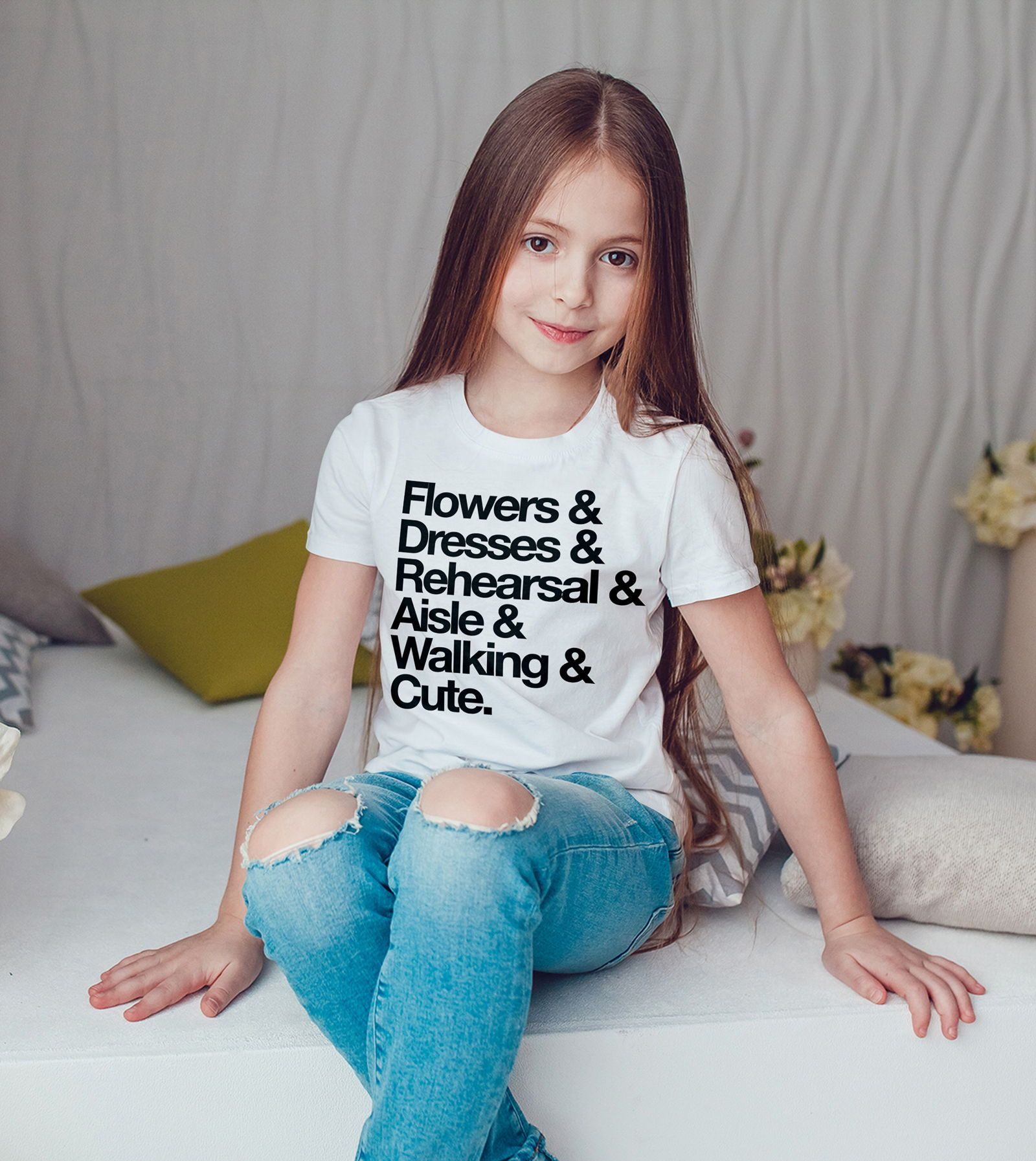 Flower Girl Shirt for Wedding Bridal Party Flower Girls Kids or Baby Tee for Wedding Outfits Cute Girls Shirt