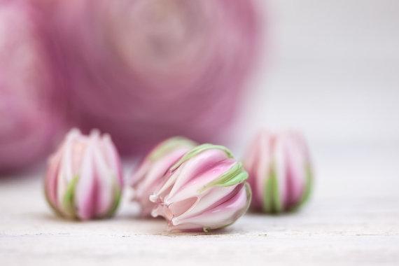 Pink Lampwork Flowers, Lampwork Flower Beads, Lampwork Rose Buds, Floral Glass Beads