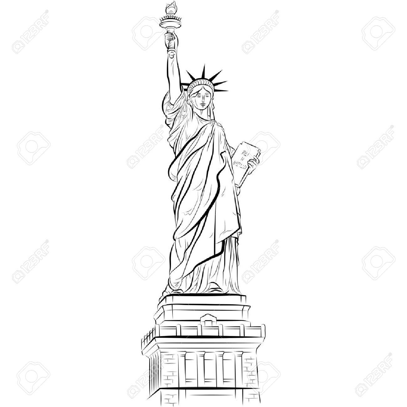 drawing statue of liberty in new york usa vector image on vectorstock