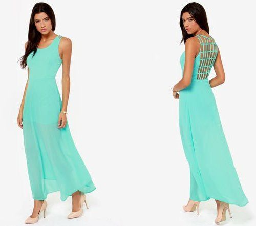 Sexy backless aqua pastel maxi summer dress 2014 from Lulu's. A super sexy open back is veiled by a network of straps forming a sultry lattice panel that peeks around to the front to frame a scoop neckline. A sleeveless bodice has princess seams that help flatter your figure above a fitted waist.