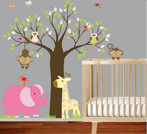 habitacion-bebe-vinilo-buhos-elefante1.jpg (470×429) | Nursery ...