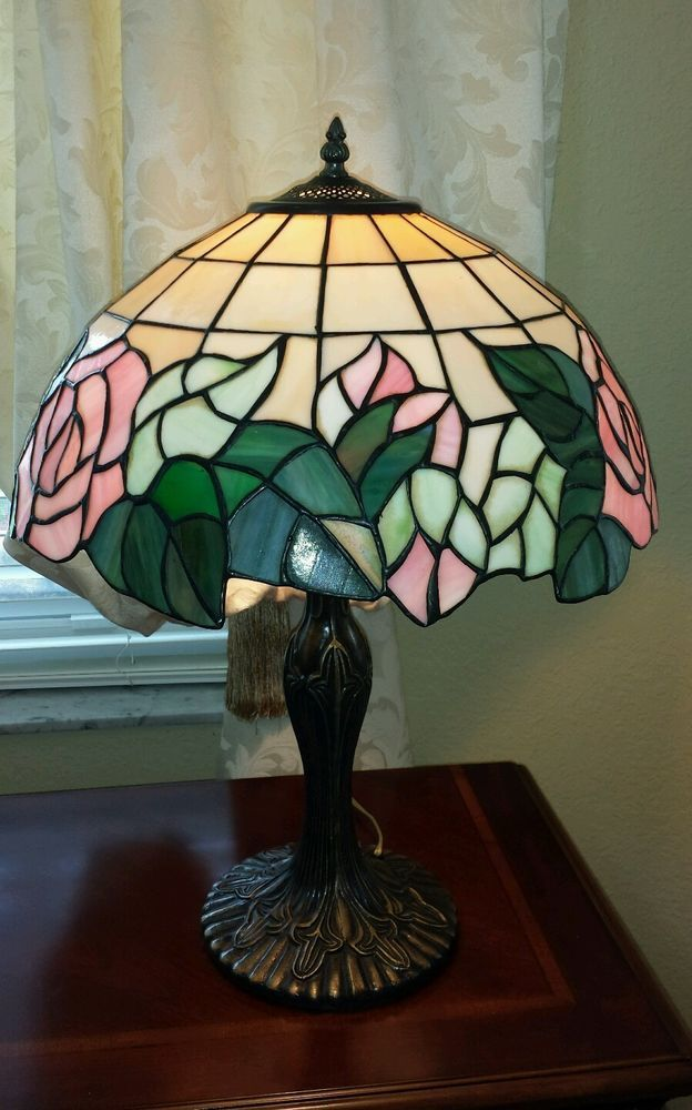 023231ed30e Vintage Tiffany style stained glass rose design table lamp  StainedGlass