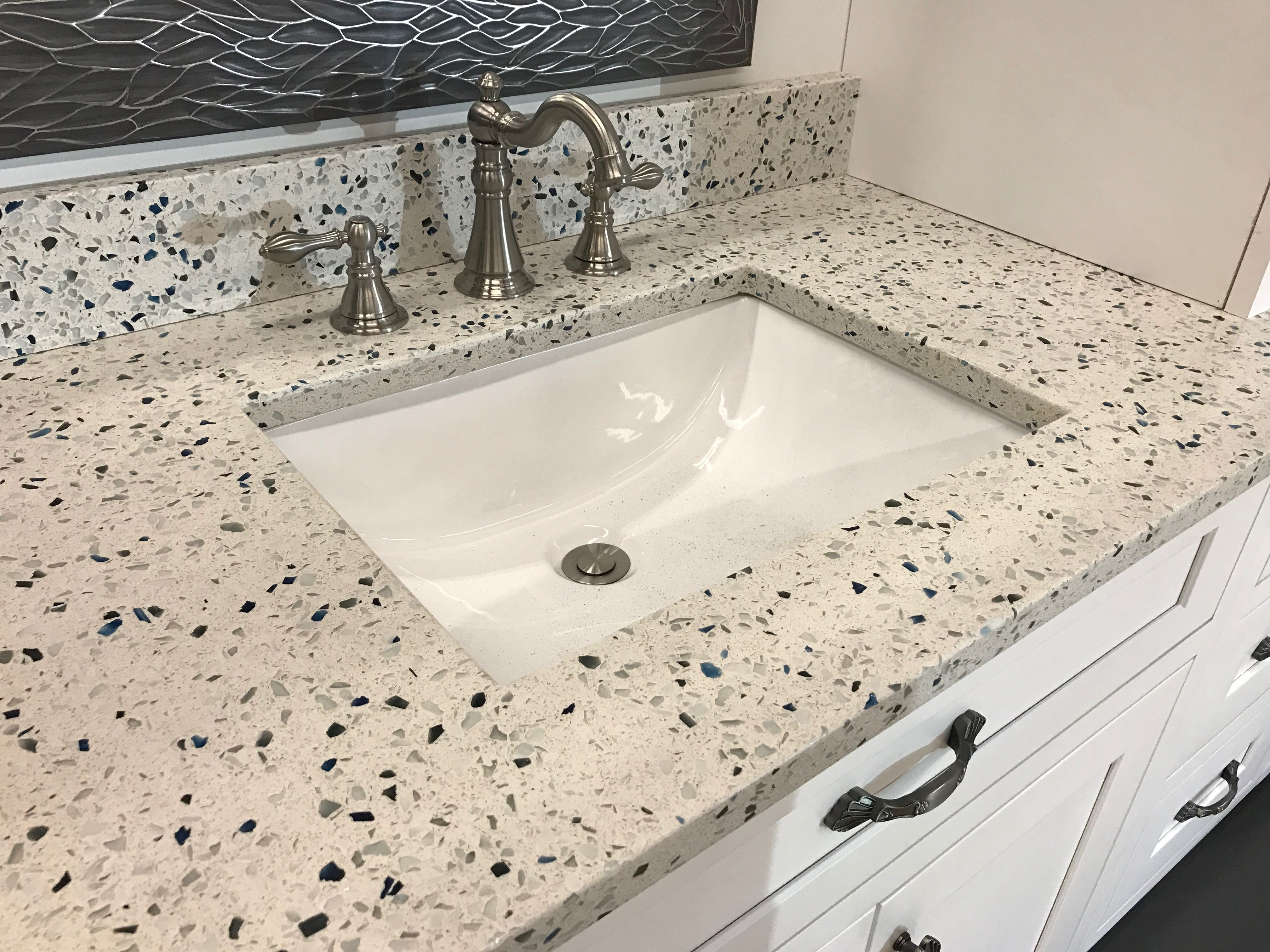 Curava Arctic Counters On A Classic Vanity Style Recycled Glass Countertops Recycled Glass Countertops