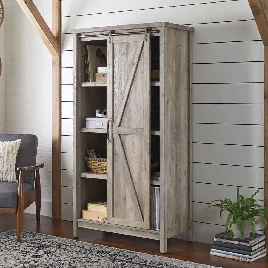 Tall Storage Cabinet Country Wood Rustic Farmhouse Pantry Cupboard Sliding Door Farmhouse Storage Cabinets Bookcase Storage Farmhouse Bookcases