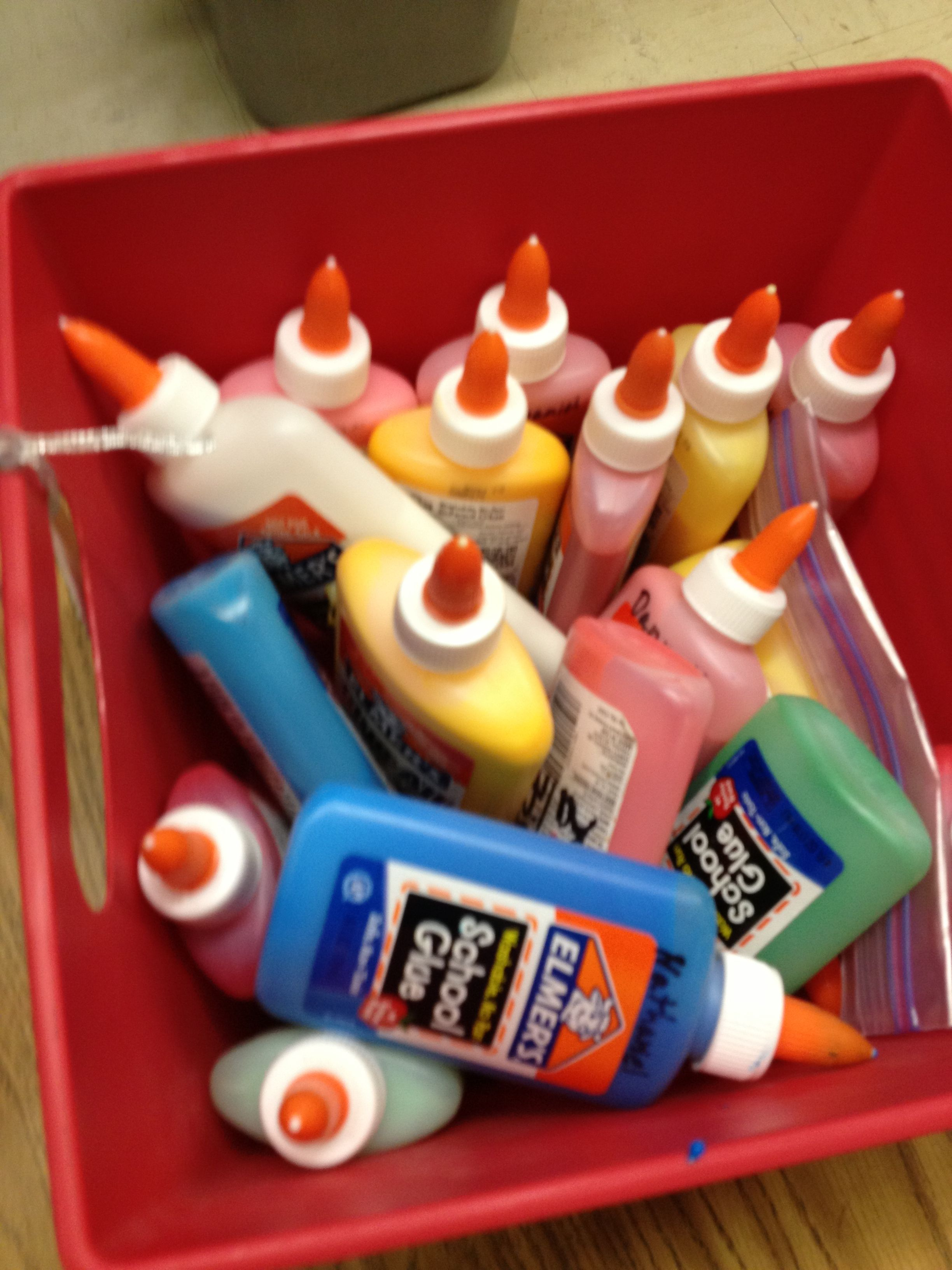 Use food colorant to color white glue. Kids will love it and it is also helpful for when they use it on a white surface so they know when is it enough.
