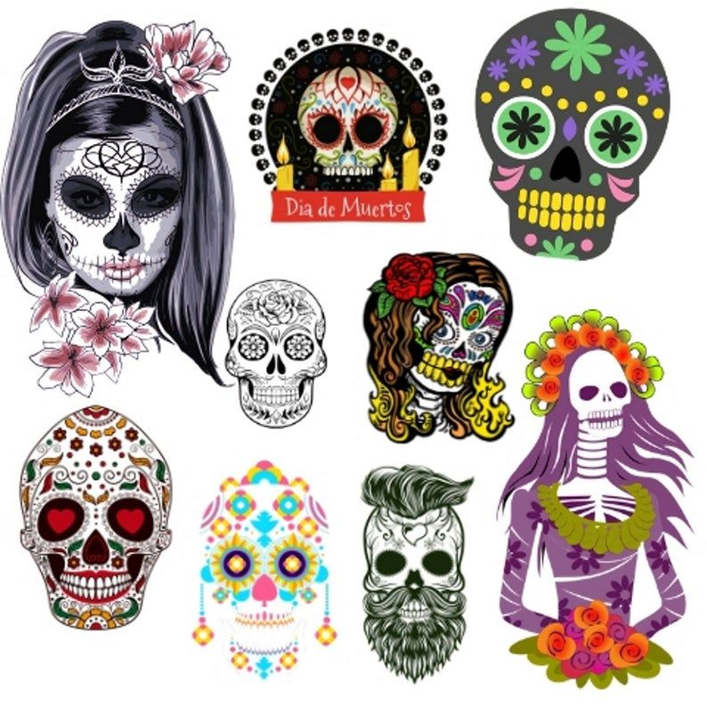 25 Day Of The Dead Skull Clipart Set For Personal Commercial Use Instantly Download And Use As You Wish In 2021 Day Of The Dead Skull Clip Art Day Of The Dead