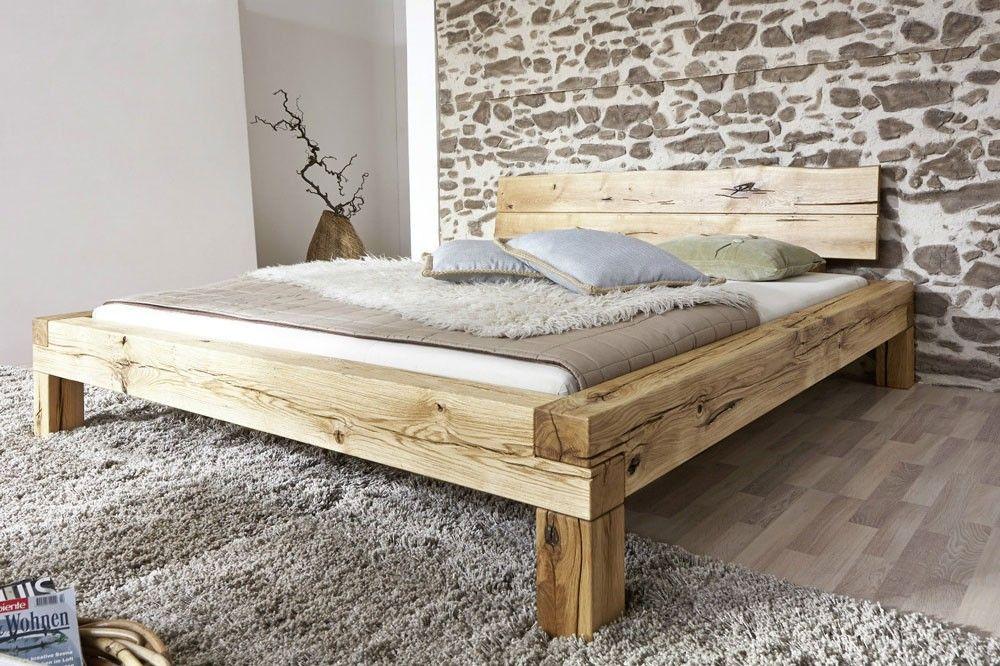 Doppelbett 180x200cm Wildeiche Geolt Manuel Main Mobel Holzbalken Bett Bett Selber Bauen Bett 180x200