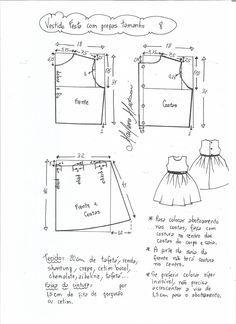 a1003531f Patrón vestido de fiesta para niña con la falda plisada