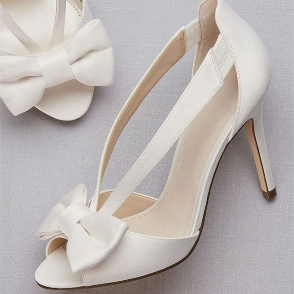 White Satin Bow Stiletto Heels Peep Toe Pumps For Party Night Club Dancing Club Wedding Big Day Going Bride Shoes Unique Wedding Shoes Satin Wedding Shoes