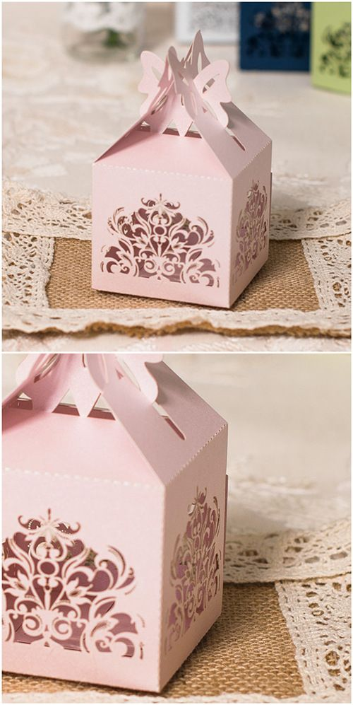 Pink Color Laser Cut Chic Wedding Favor Boxes To Match Your Wedding