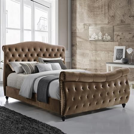 Sareer Baroque Super King Velvet Bed Frame, Brown Velvet Bed Frame, Bed  Linen Inspiration