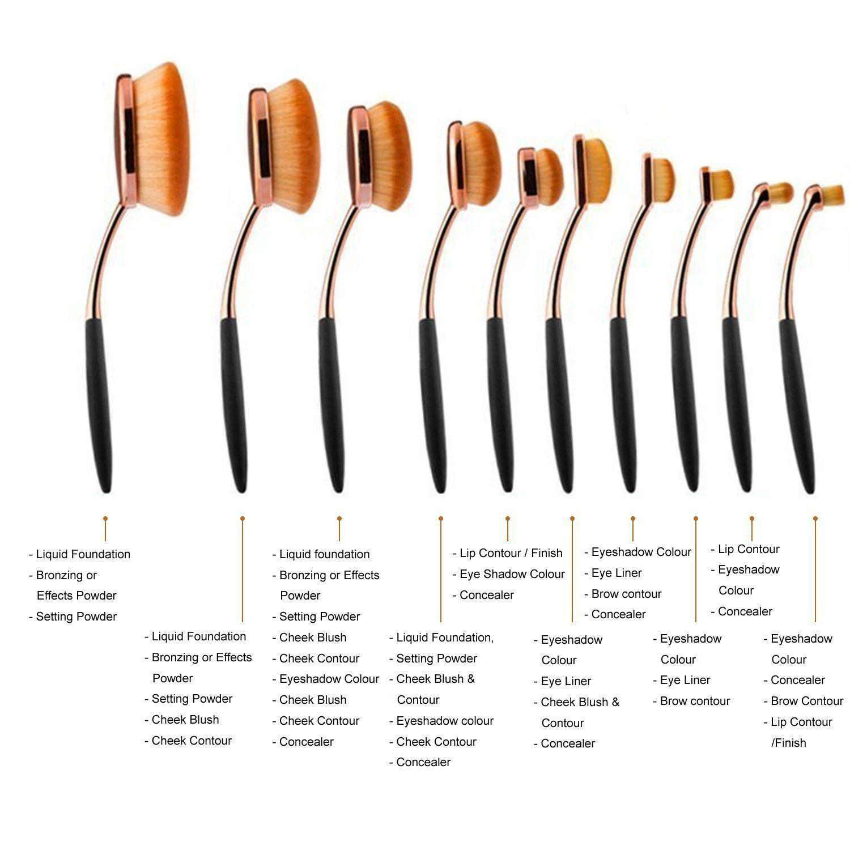 Yoseng Makeup Brushes Set 10Pcs Professional