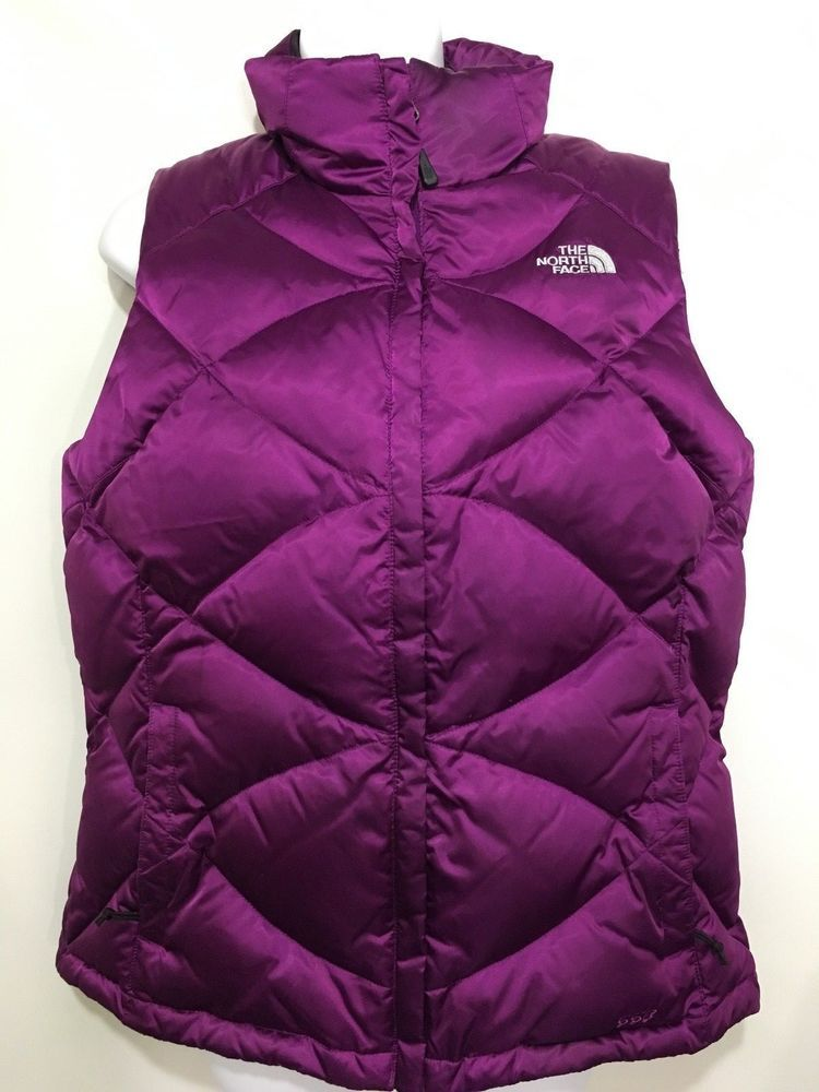 0580608ff755 The North Face Womens L 550 Purple Satin Goose Down Puffer Vest Quilted   TheNorthFace  Casual  Everyday