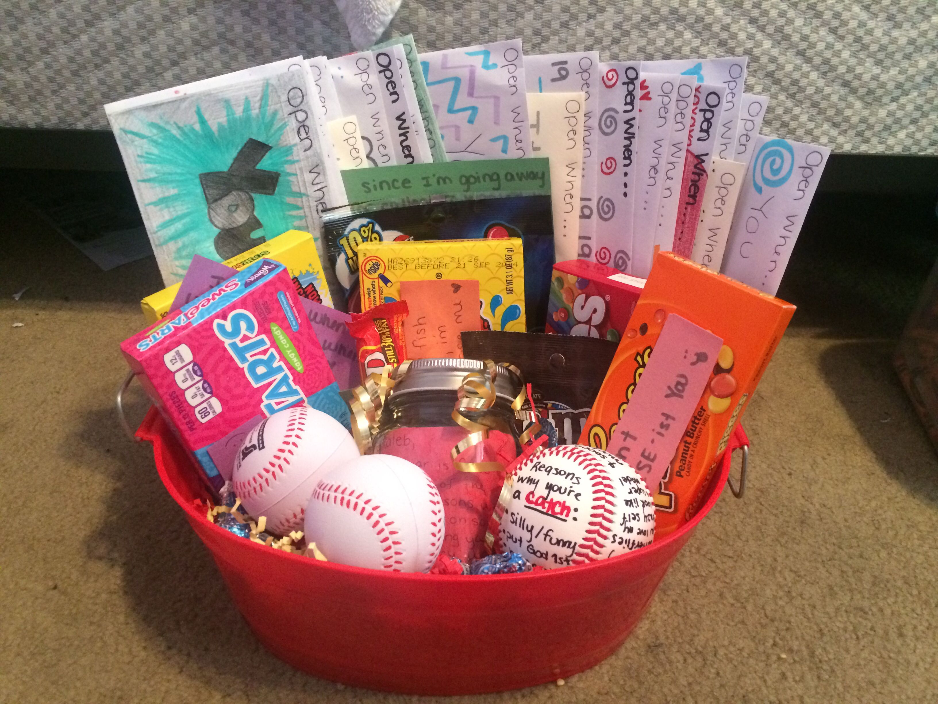 Baseball boyfriend gift to give before going off to different baseball boyfriend gift to give before going off to different colleges reasons why i love you jar reasons why your a catch ball candy with cute messages negle Image collections