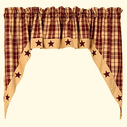 Primitive Country Farmhouse BURGUNDY TAN PLAID STAR Swag Curtain