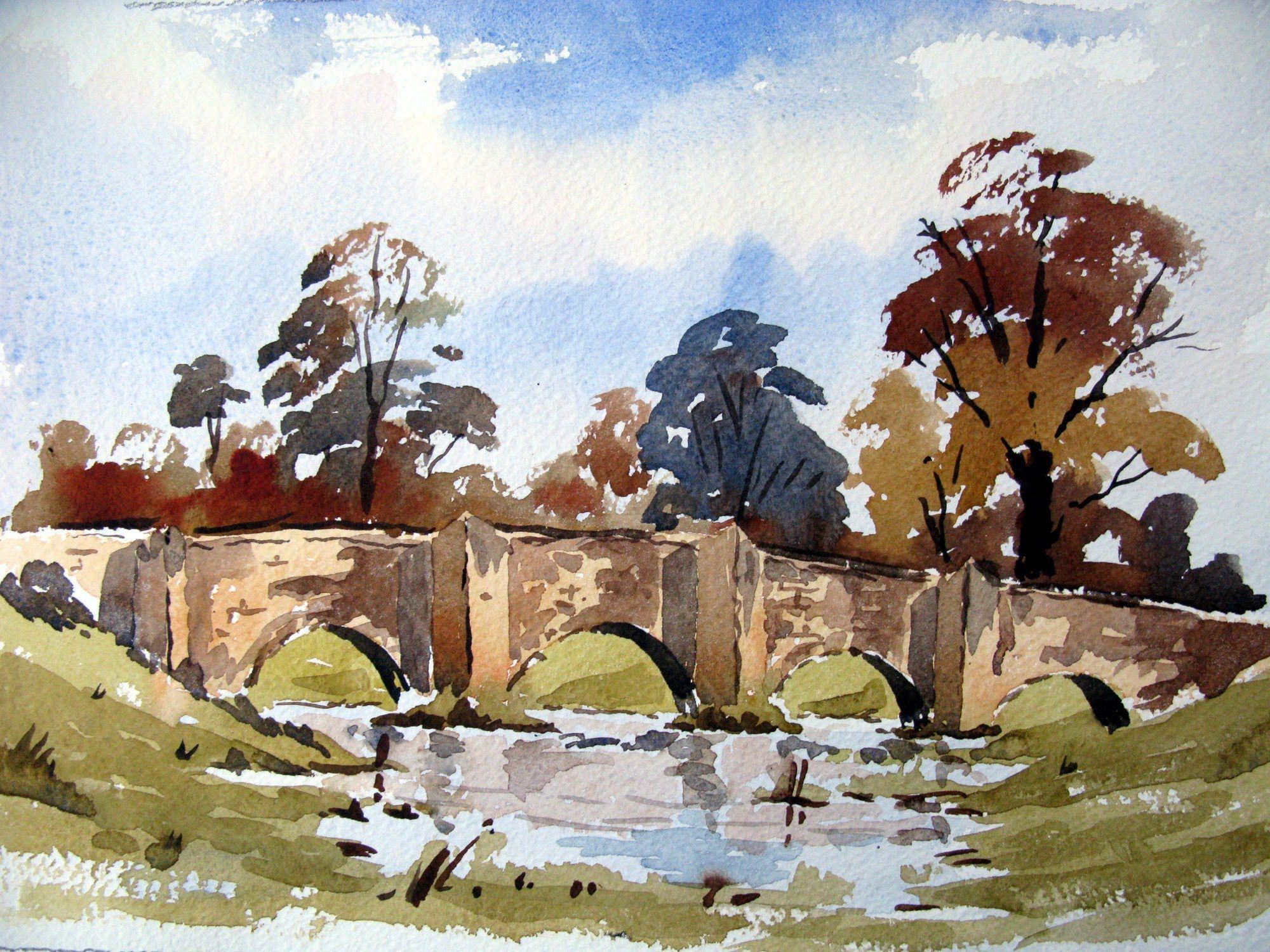 A loose watercolor sketch of a bridge with Alan owen | watercolor ...
