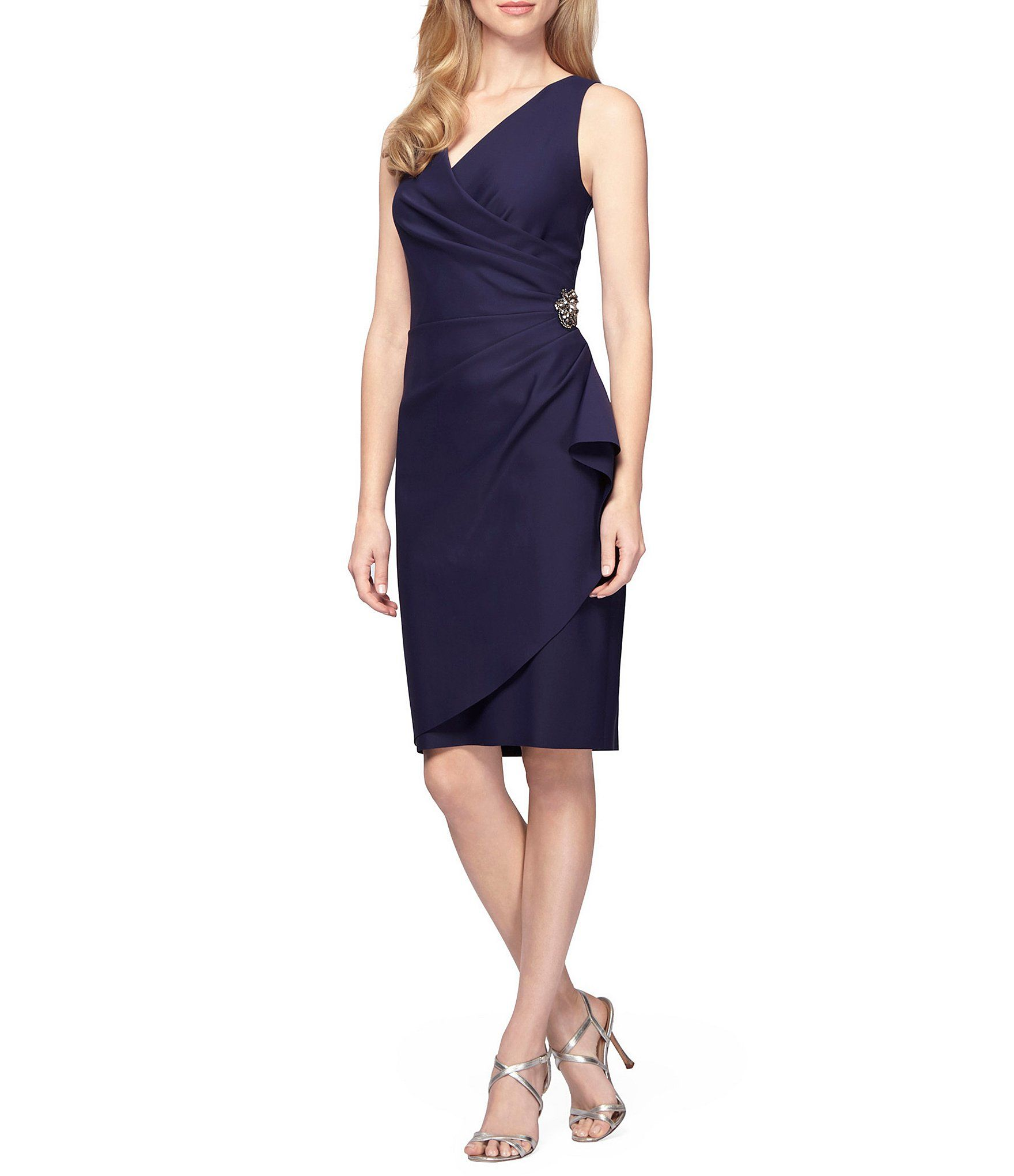 Alex evenings ruched sheath dress dillards clothing accessories alex evenings ruched sheath dress navy blue ombrellifo Image collections