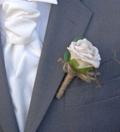 Artificial Champagne Mocha Rose Wedding Guest Onhole With Natural Twine Bow
