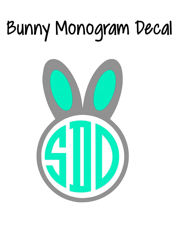 Bunny Vinyl Monogram Decal Sticker by AjAllenDesigns on Etsy