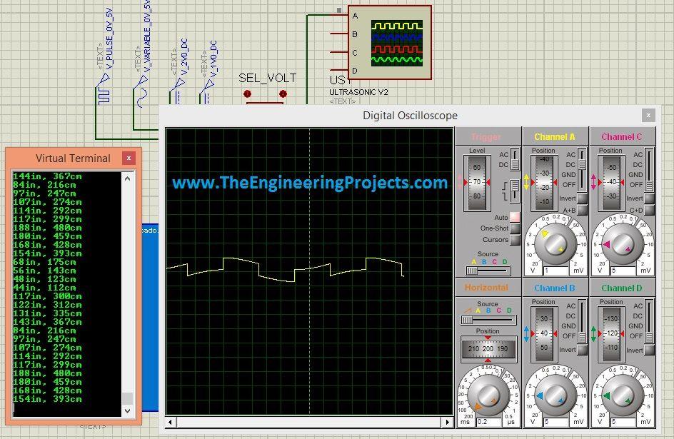Ultrasonic sensor in proteus library for