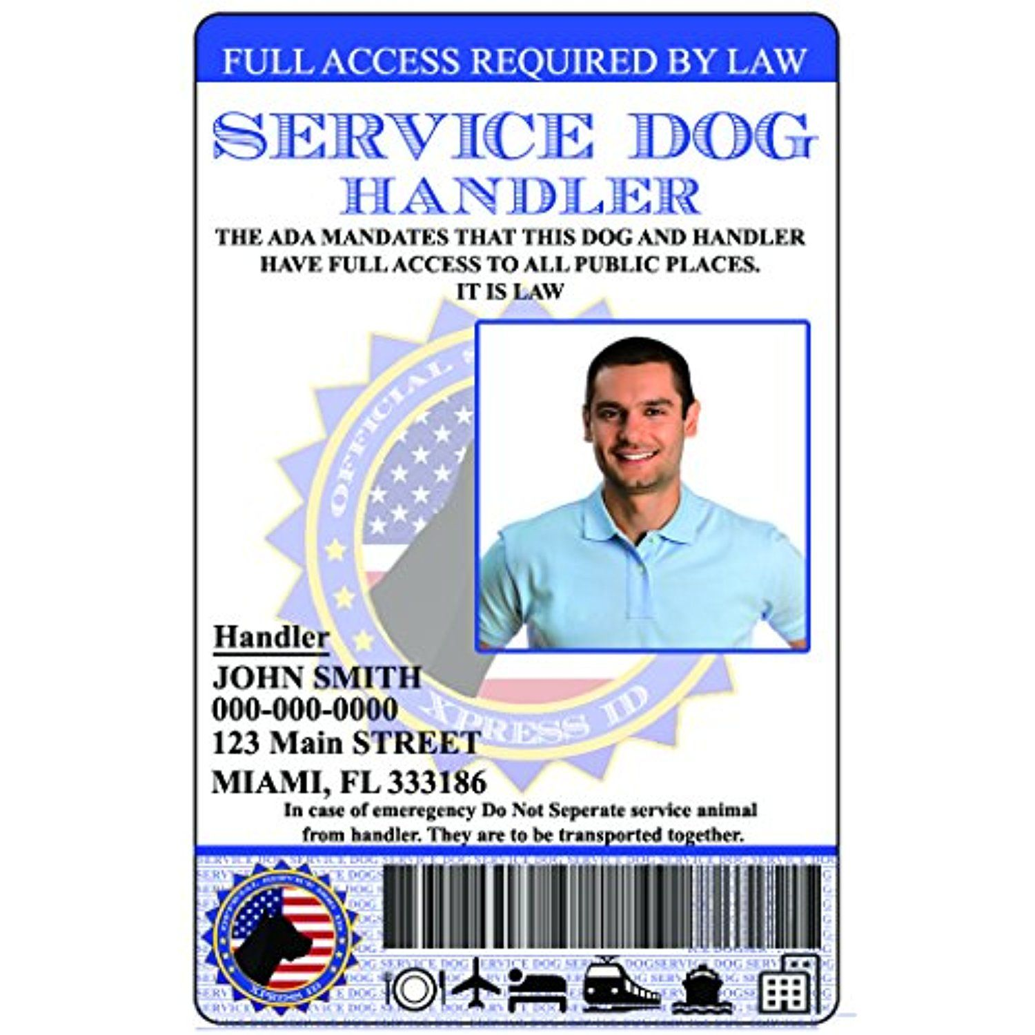 Holographic Service Dog Handler ID (Custom) Includes
