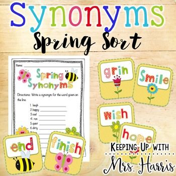Spring Synonyms Spring Synonyms Synonym Cards Synonym