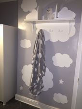 Hand painted clouds and stars on feature wall Handmade cloud bookshelves Playr Hand painted clouds and stars on feature wall Handmade cloud bookshelves Playr  Hand painte...