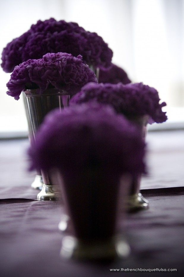 Eggplant Carnation Mini Centerpieces Petite Fleur By The