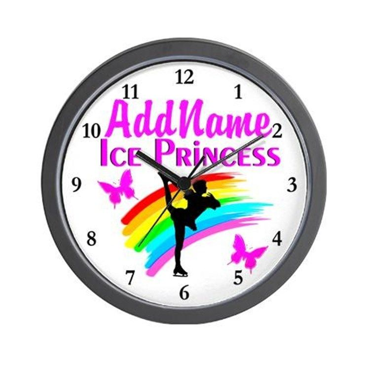 ICE PRINCESS Wall Clock Keep motivated looking every day at our Figure Skating clocks.  http://www.cafepress.com/sportsstar/10189550 #Figureskater #IceQueen #Iceskate #Skatinggifts #Iloveskating #Borntoskate #Figureskatinggifts #PersonalizedSkater #Skaterclock