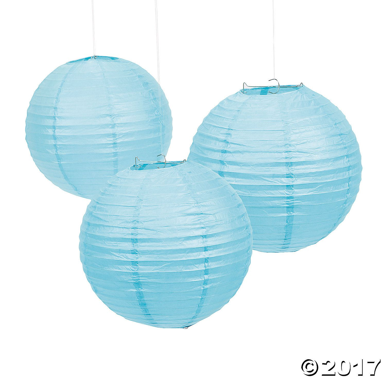 Light Blue Hanging Paper Lanterns - OrientalTrading.com $12.99 for 6 pcs (think that means lanterns and not lantern and wire thing)... think these are lighter than my color but closest we'll get.. maybe do light and dark blue accents? with white glitter and the silver?