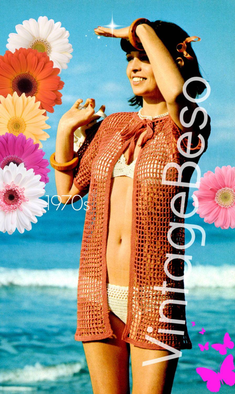 c04e276212 Beach Jacket CROCHET PATTERN 70s Retro Crochet Pattern Mon Tricot Cover Up  Crochet Pattern Bikini Summer Jacket Instant Download PdF Pattern by  VintageBeso ...