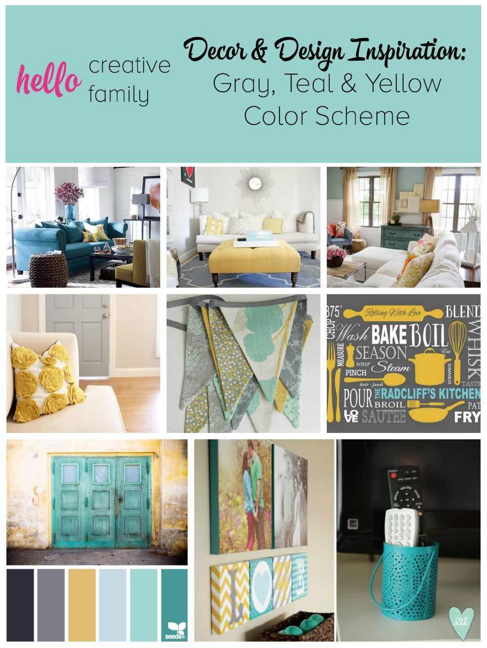 Gray Teal And Yellow Color Scheme Decor Inspiration Teal Living