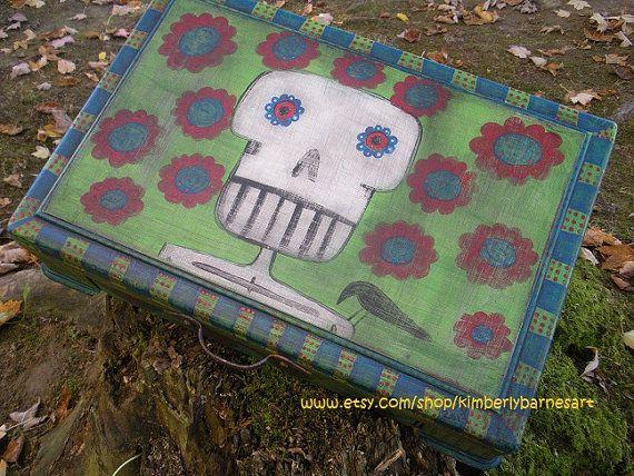 Day of The Dead Box Hand Painted Folk Art  by KimberlyBarnesArt, $75.00