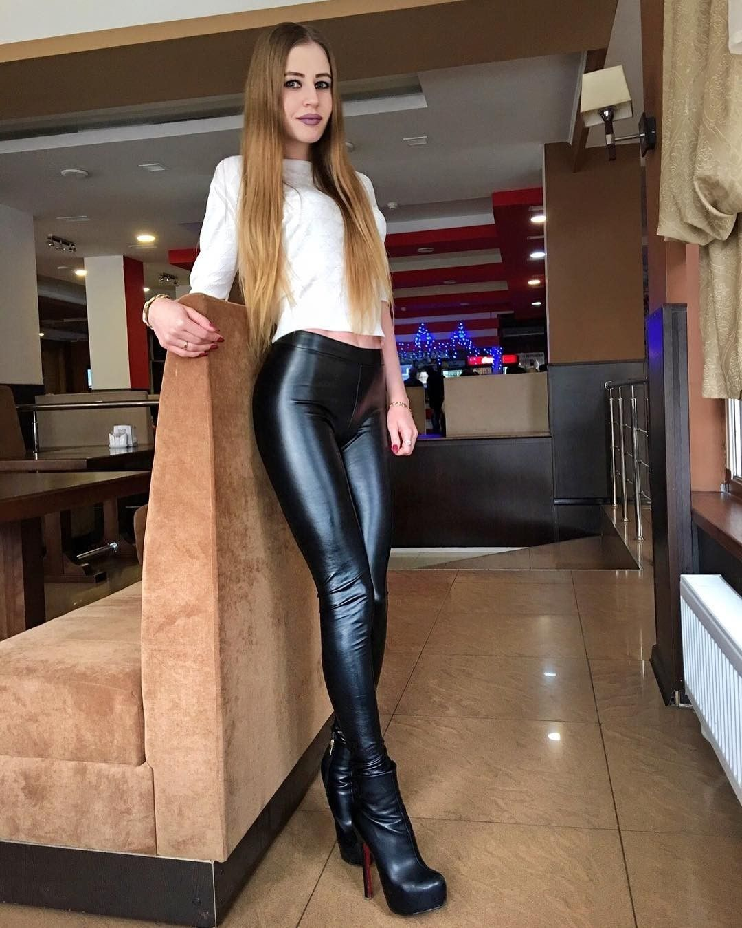 ca5f23b2637 Leather look leggings