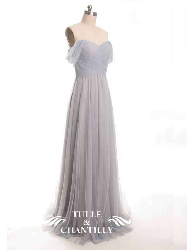 ce2b56f5af Elegant Long Tulle Off Shoulder Light Grey Bridesmaid Dress