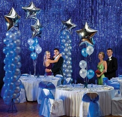 Balloon Decorations For Wedding Reception Ideas: Blue And Silver Party Balloon Decorations