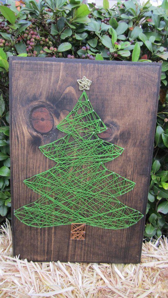 fadenbild tannenbaum basteln weihnachten. Black Bedroom Furniture Sets. Home Design Ideas