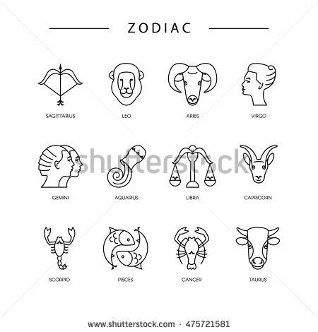 Thin Line Vector Zodiacal Symbols Astrology Horoscope Sign
