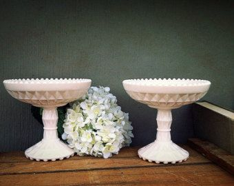 Pink Milk Glass Compotes- Pink Milkglass - Pair of Shell Pink Footed Bowls - Pastel Pink Comport-Jeanette Windsor-Wedding Candy Bar / Buffet