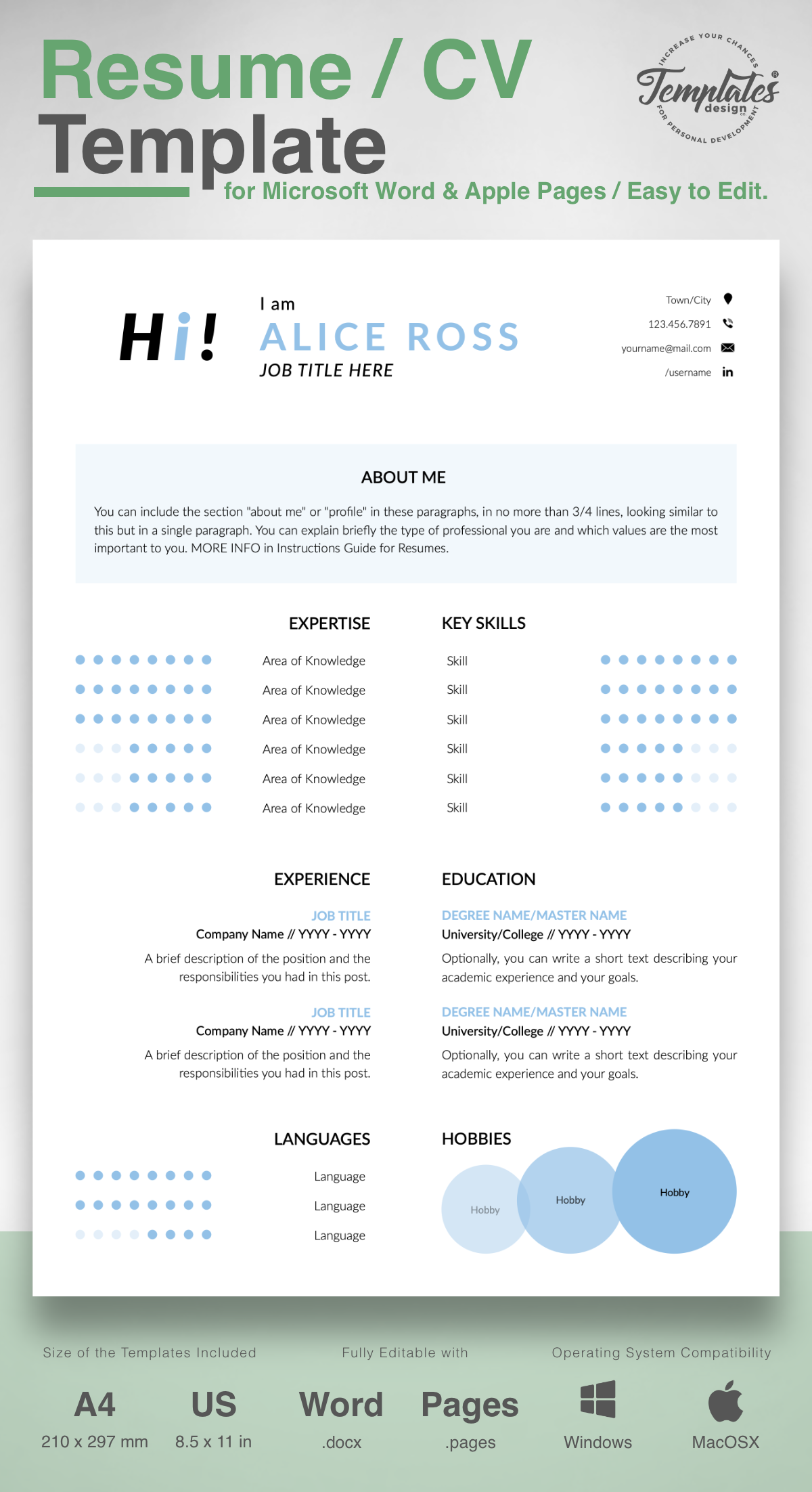 Alice Ross Creative Resume Cv Template For Word Pages Us Letter A4 Files 1 2 3 Page Resume Version Cover Letter References Cover Letter