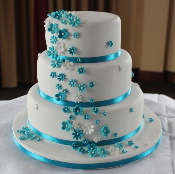 White With Turquoise Wedding Cake Google Search