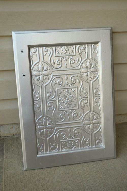 Faux tin tile cabinets wallpaper kitchens and doors for Tile wallpaper backsplash