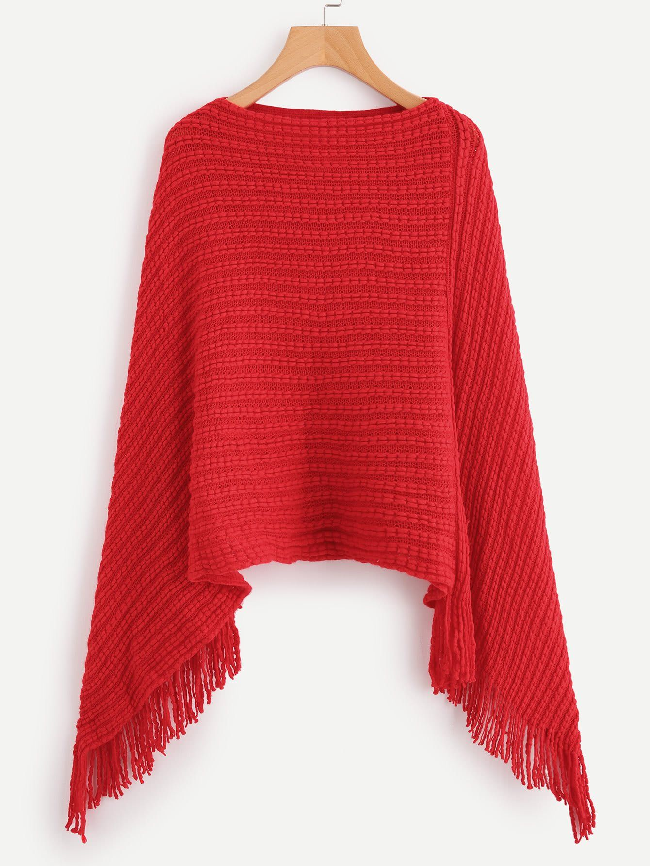 Red Fringe Hem Poncho Sweater | Poncho sweater, Ponchos and Color red