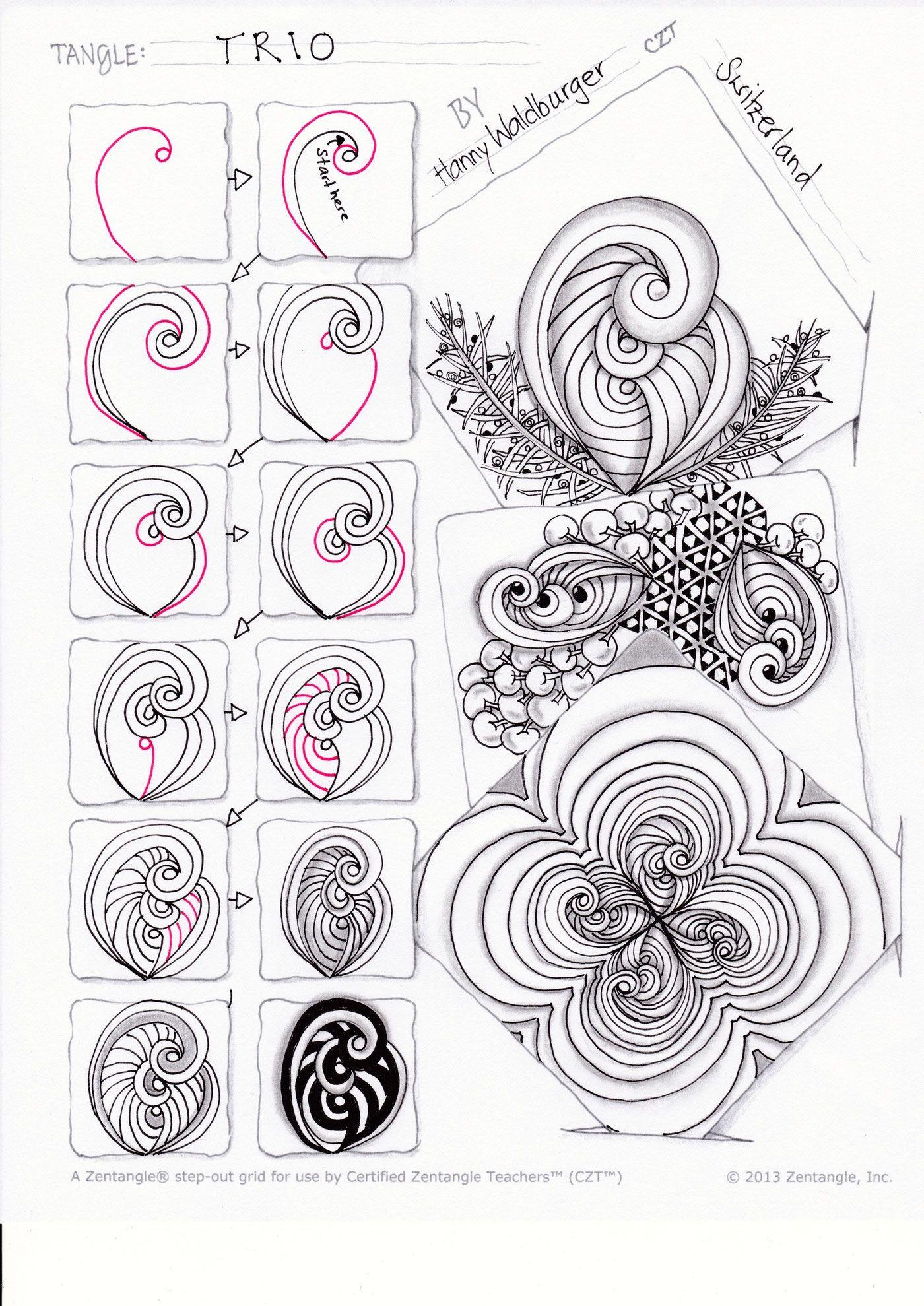 zentangle pattern trio by zenjoy | Zentangles | Pinterest ...