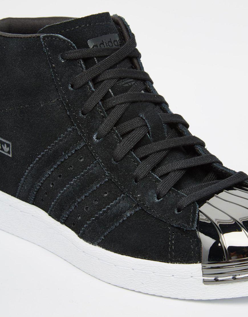 me quejo Hazlo pesado Comercialización  adidas Originals Black Suede Superstar Up Metal Toe Cap Trainers at asos.com