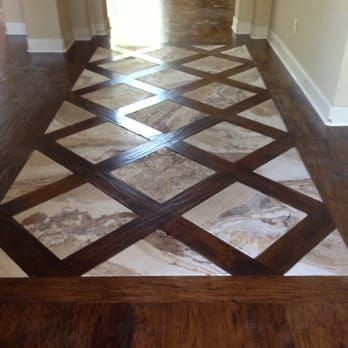 Basket Weave Hickory Flooring With Travertine Tile Entry Yelp