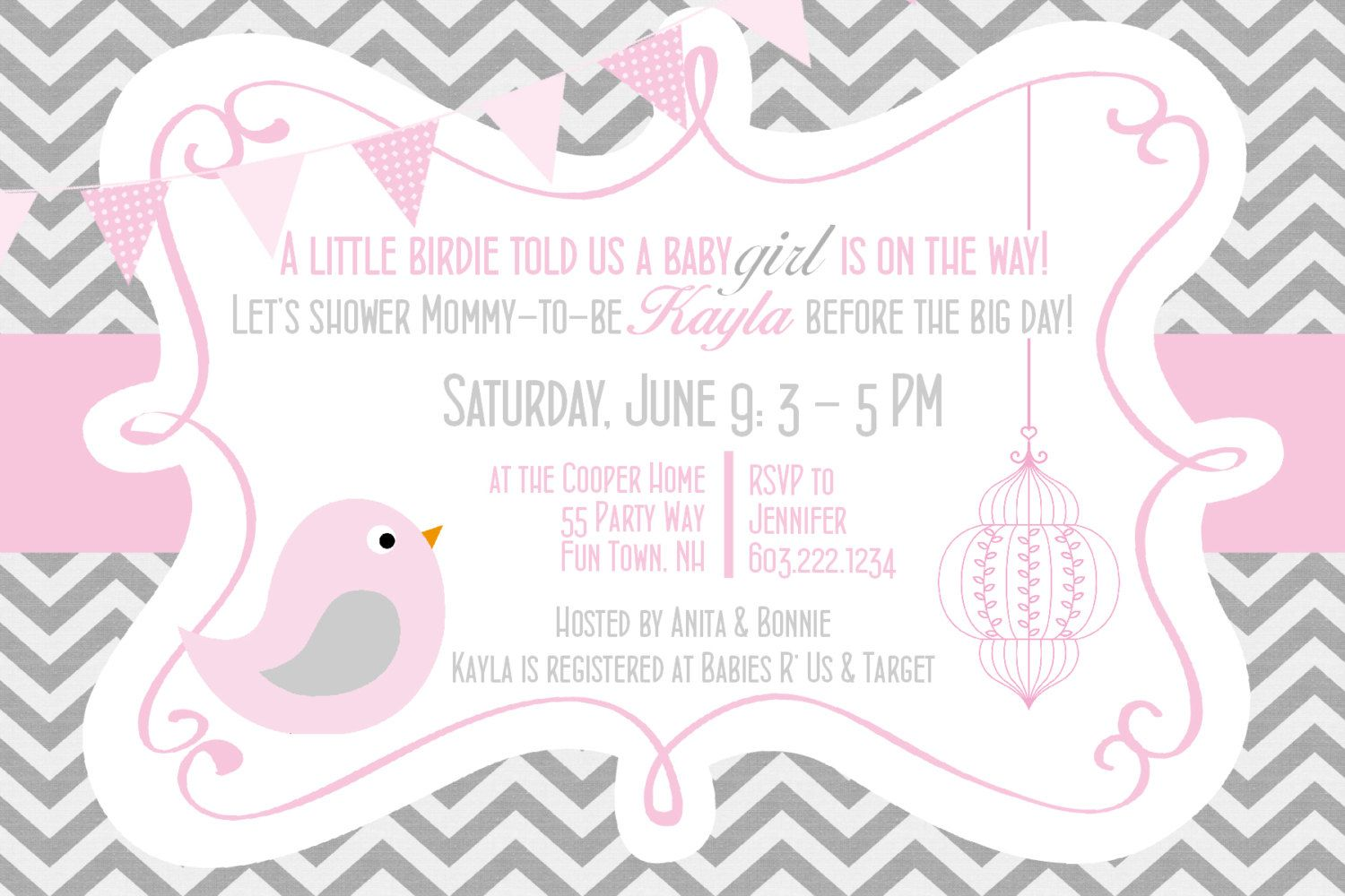 Birds Baby Shower Invitation Girl Pink Gray - Bird Chevron Baby ...