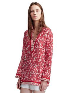 Tory Burch Tunic The V Neck Floral Red Pepper Tory Tunic